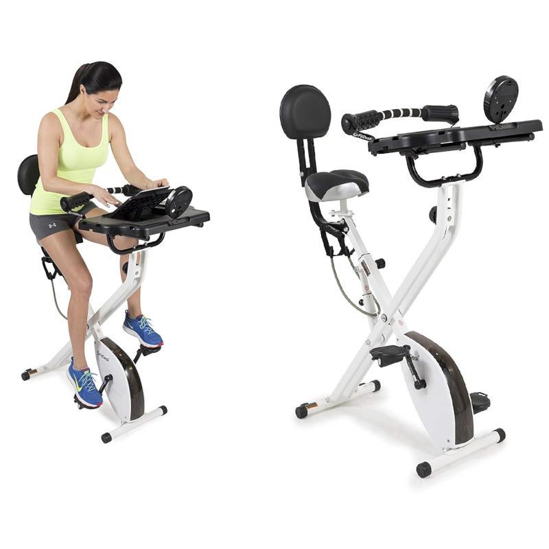 Folding exercise desk bike